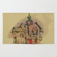 russian Area & Throw Rugs featuring Russian church by Natsuki Otani