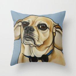 """Puggle Portrait """"Dexter"""" the grump!  Throw Pillow"""
