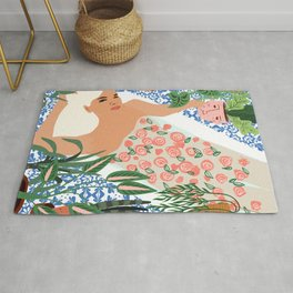 Moroccan Bath With Plants #botanical #illustration Rug