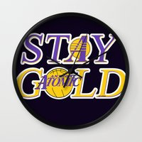 lakers Wall Clocks featuring Stay Gold by Ant Atomic