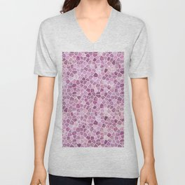 Pale Pink Cobbled Patchwork Unisex V-Neck