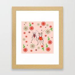 ditsy crickets pink floral Framed Art Print