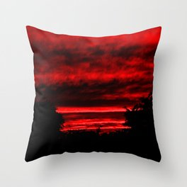 Sunset in Red Throw Pillow