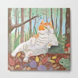 Forest Cat on Pallet Metal Print