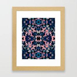 Fluorescent Flora Kaleidoscope Framed Art Print