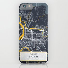 Taipei Taiwan City Map with GPS Coordinates iPhone Case