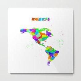 Watercolor Americas Map 2. Metal Print