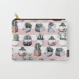 Potted Cactus Stripes Pink Rose Gold Carry-All Pouch