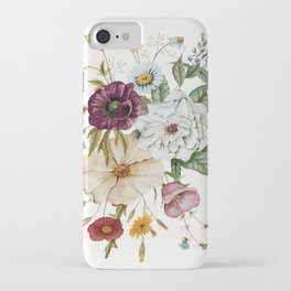 Colorful Wildflower Bouquet on White iPhone Case