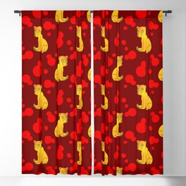 Little bears. Cute adorable funny baby bear cubs and bold blue retro dots seamless pattern design. Blackout Curtain