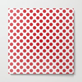 White and red polka dots Metal Print
