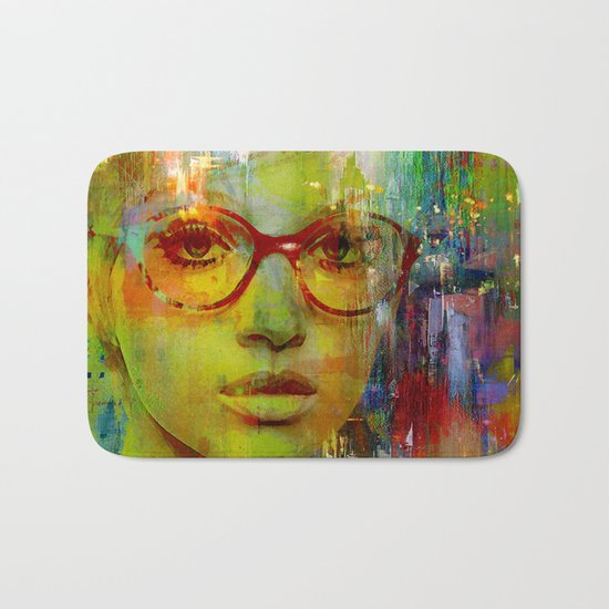 red glasses girl Bath Mat