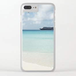Beautiful sand beach with crystal clear water and cruise ship anchored, Bahamas Clear iPhone Case