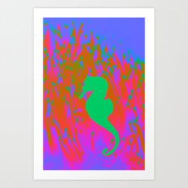 Neon Seahorse Art Print