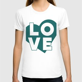LOVE & heart // dark teal T-shirt