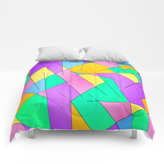 ABSTRACT LINES #1 (Multicolored Vivid) Comforters
