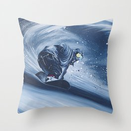 'Snowboarding Blue Blower' Throw Pillow