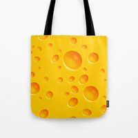 cheese Tote Bags featuring Cheese by MikiMikibo