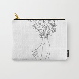 Minimal Line Bloom Carry-All Pouch