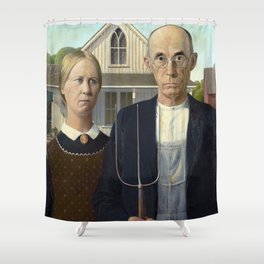 American Gothic Painting Shower Curtain