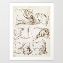 Six Studies of Pillows by Albrecht Durer, 1493 Art Print