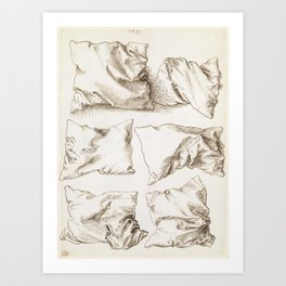 Six Studies of Pillows by Albrecht Durer, 1493 Art Print