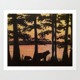Bear and Cypress Sunset Art Print