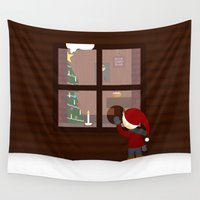 cabin Wall Tapestries featuring Holiday Cabin by Cecily Cloud