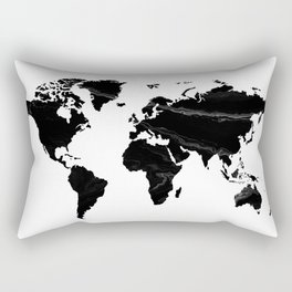 World map, Marble, Scandinavian, Modern art, Art, Minimal, Wall art Print Rectangular Pillow