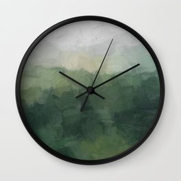 Gray Fog Green Hills Abstract Nature Scenic Painting Art Print Wall Decor  Wall Clock