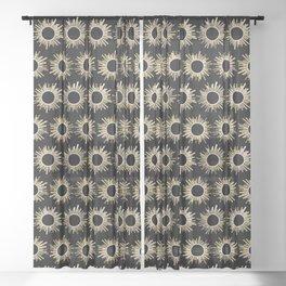 Art Deco Starburst in Black Sheer Curtain