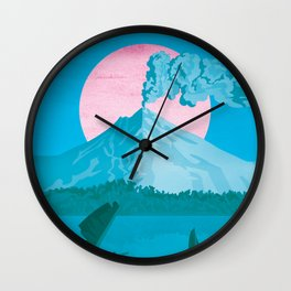 Costa Rica, Volcano Arenal Vintage Travel Poster Wall Clock