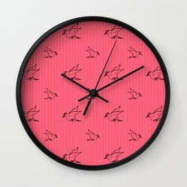 Sparrows, Pink Stripes, Birds Flying Wall Clock