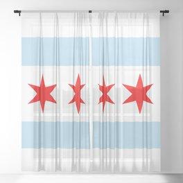 Chicago Flag Sheer Curtain