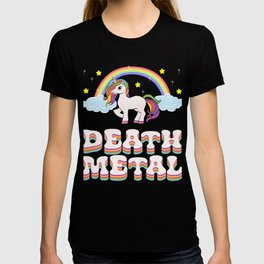 """A Perfect Gift Tee With An Illustration Of A Unicorn """"Death Metal"""" T-shirt Design Rainbow Stars T-shirt"""