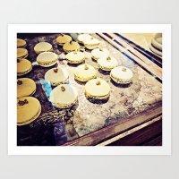 macaron Art Prints featuring macaron by inourgardentoo
