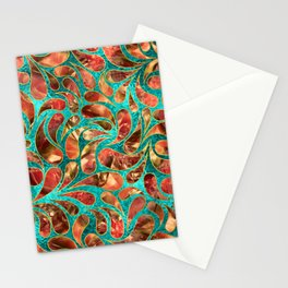 Gold Framed Red Gemstone  Paisley pattern on teal Stationery Cards