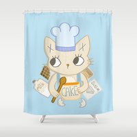baking Shower Curtains featuring Cat is baking a Cake by Camart