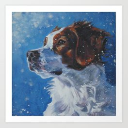 Brittany Spaniel dog art portrait from an original painting by L.A.Shepard Art Print