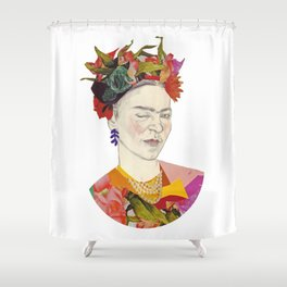 Winking Frida Kahlo collage Shower Curtain