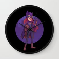 batgirl Wall Clocks featuring Batgirl by Blanca Limón