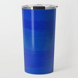 Subtle Cobalt Blue Waves Pattern Ombre Gradient Travel Mug