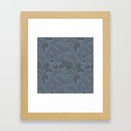 Leaves Illustrated Gray Framed Art Print