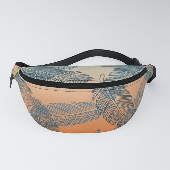 Blue Feathers Pattern Fanny Pack