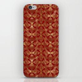Art-deco gold foil look & burgundy pattern iPhone Skin