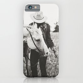 A Cowgirl & Her Horse - Black & White Photo iPhone Case