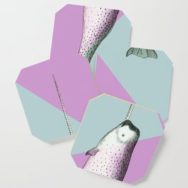 Narwhal Geometric Bright and Colorful Coaster