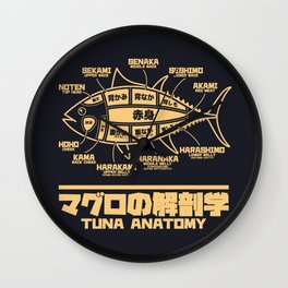 Tuna Anatomy Japanese Maguro Sushi - Black Sand Wall Clock