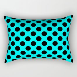 Polka dots pattern, classic design, retro style, azure blue and black geometric figures, stylish sym Rectangular Pillow