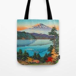 Tsuchiya Koitsu Vintage Japanese Woodblock Print Fall Autumn Mount Fuji Tote Bag